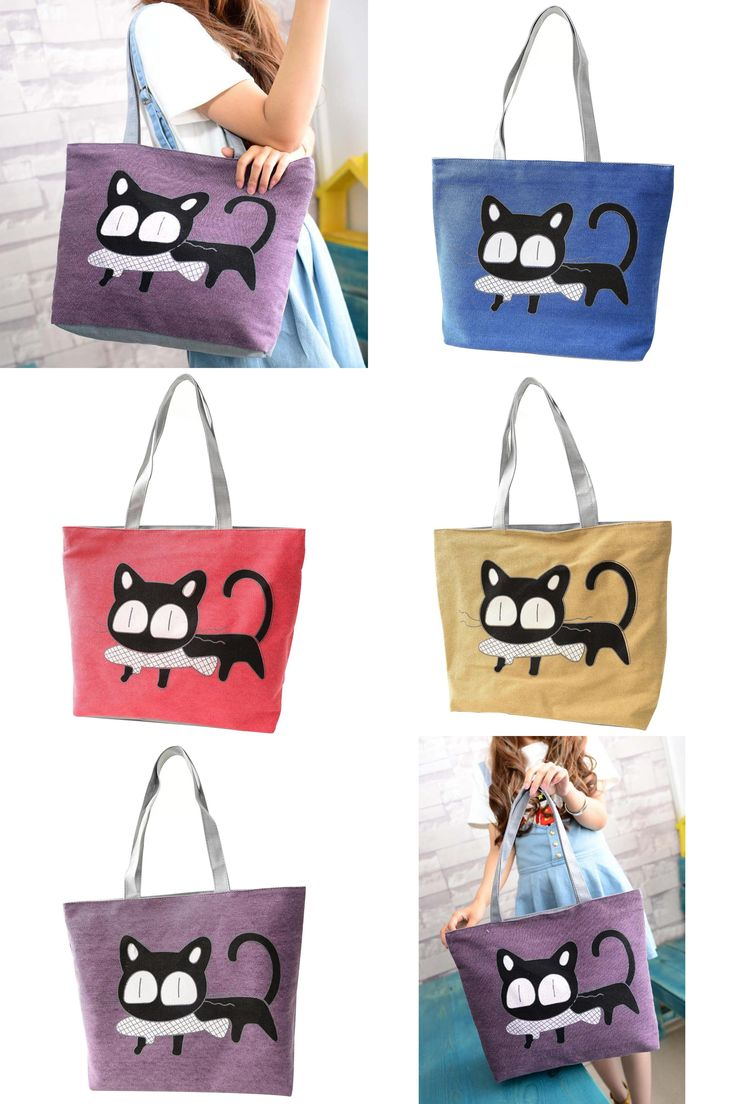 [Visit to Buy] Special Cartoon Cat Fish Canvas Handbag Preppy School Bag for Girls Women's Handbags Shopping bag Cute Shoulder Tote Handbags #Advertisement