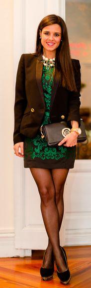 Cocktail Look - Vestido Suiteblanco peplum dress - blazer Mango - bolso Loewe bag - zapatos Menbur shoes - collar Zara necklace - reloj Folli Follie watch