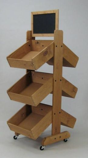 3 Tier Double Sided Vegetable Bin, Wooden Produce Display - Dad should make these!