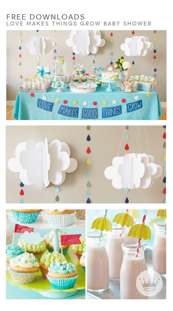 "BABY SHOWER DOWNLOADABLES: Throwing a baby shower? Thanks to these downloads, your decorations will be both incredibly cute and ridiculously easy. Your ""Love Makes Good Things Grow"" baby shower will be almost as adorable as the celebrated baby him- or herself."