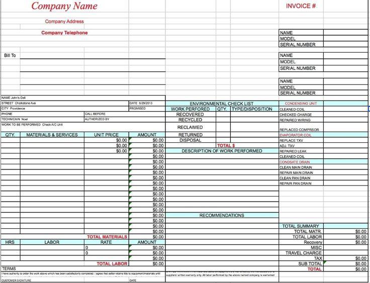 Free hvac invoice template excel pdf word doc hvac invoice