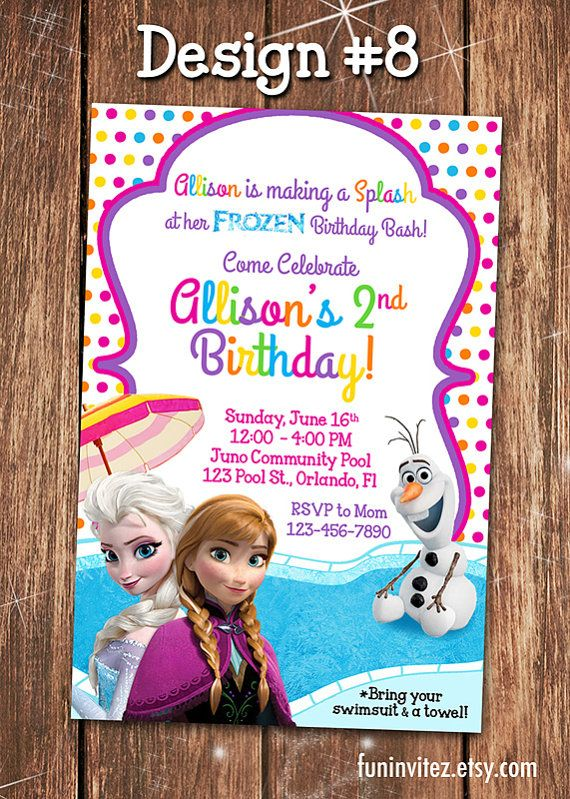 Frozen - CUSTOM Anna Elsa Olaf Summer Pool Swim Birthday Party Girl Photo Invitations - Printable
