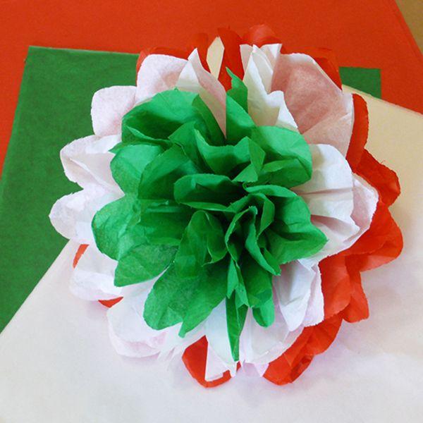 Nemzeti színű selyempapír pompon - Art-Export webáruház
