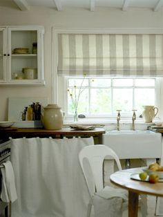 Kitchen curtains.  This is basically what I want to make, a shorter roman curtain. Probably wouldn't look right over Venetian blinds though.