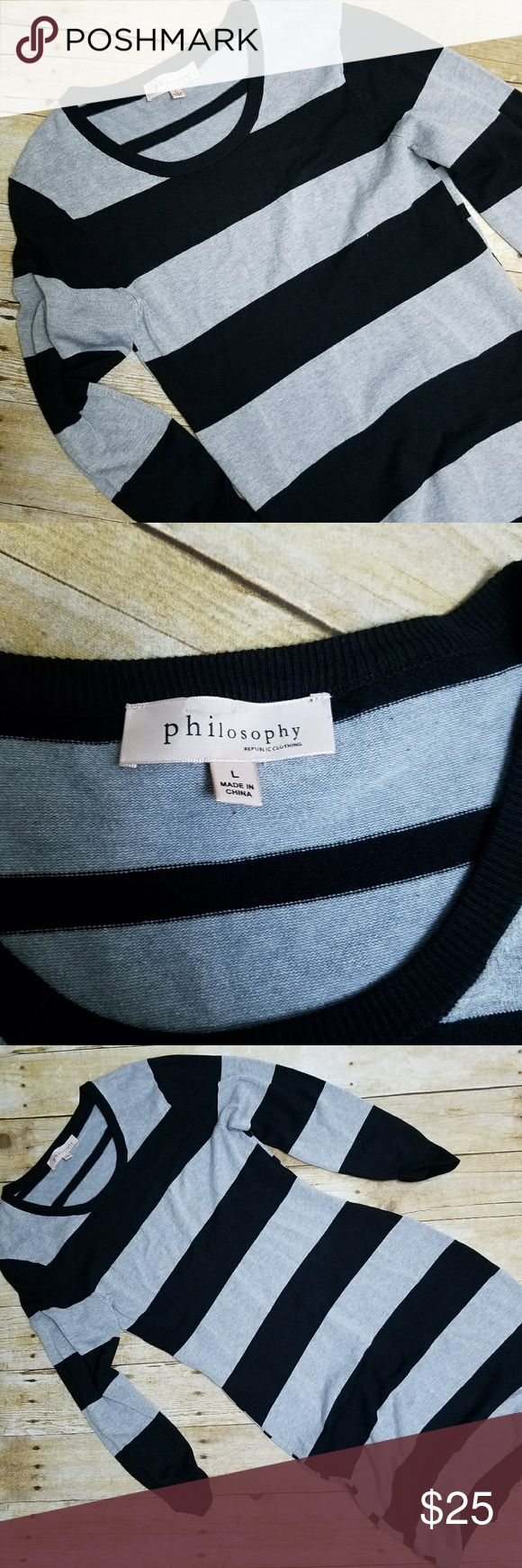Gray and Black Sweater Dress Size Large Form fitting dress by philosophy. Size Large and grey and black. Super soft to touch and stretchy. Bust 15.5 inches, waist 15 inches, length 38 inches.  Medium length dress. All measurements taken flat. (G64) Philosophy Dresses Long Sleeve