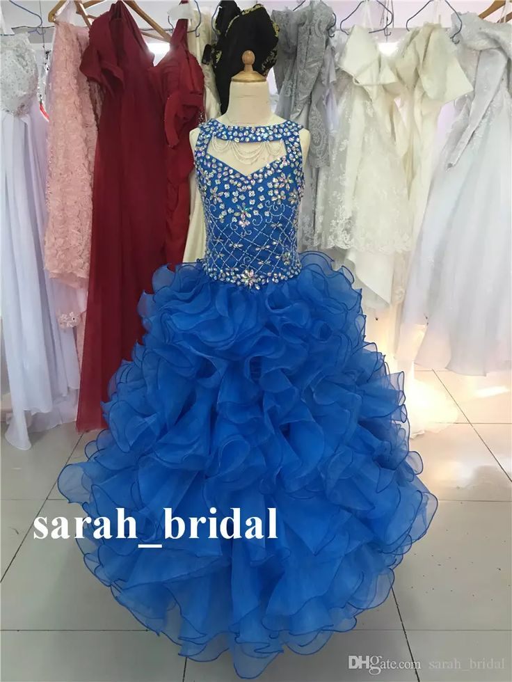 Luxury Crystals Beaded Ball Gown Girls Pageant Dresses 2017 Princess Ruffle Organza Skirt Birthday Christmas First Communion Prom Party Gown Pretty Dresses For Girls Toddler Easter Dresses From Sarah_bridal, $123.62| Dhgate.Com
