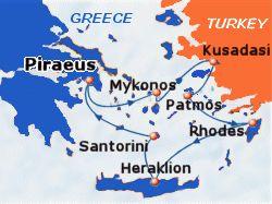 Map of 4-day Greek Islands & Turkey cruise: round trip from Athens (Piraeus) to Mykonos, Kusadasi, Patmos, Rhodes, Heraklion and Santorini