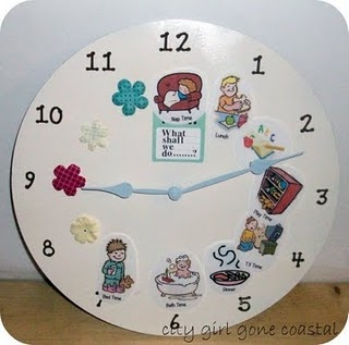 toddler routine clock, that's pretty brilliant!  I think an oversized clock with velcro so you could show them the schedule of the day would be perfection.