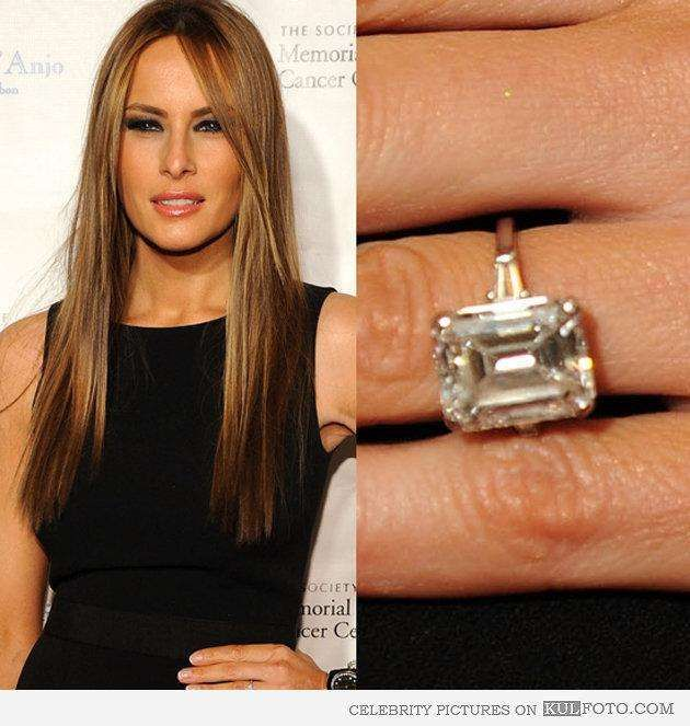Donald and Melania Trump's Engagement Ring The most expensive engagement ring on the planet at the time, business mogul Donald Trump was not messing around when in 2004 he gave the then-Melania Knauss a huge 15-carat diamond ring. Of course she said yes in the face of the $3 million emerald-cut rock and the couple, along with Donald's hair, lived happily ever after.