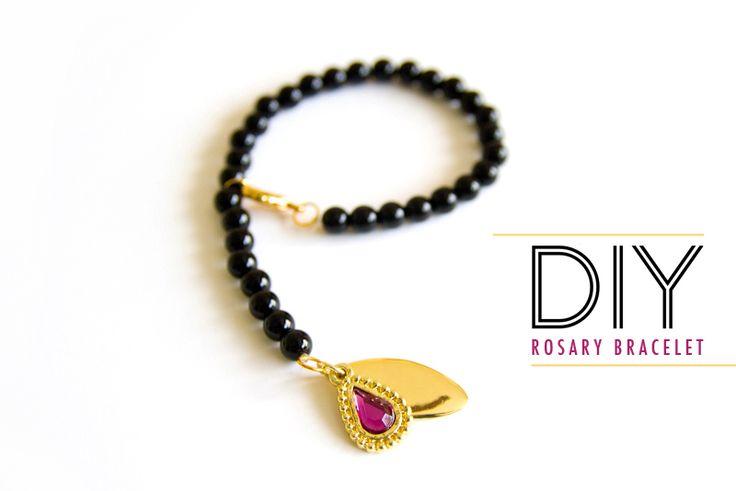 inspirado: Diseñador, cc skye, oro, púrpura, Cuentas de negro, colgante, hágalo USTED Mismo, pulsera del estiramiento, kara endres