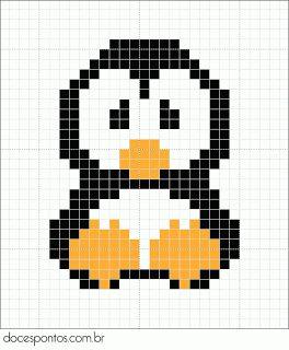 Penguin perler bead pattern - turn it into granny square blanket!