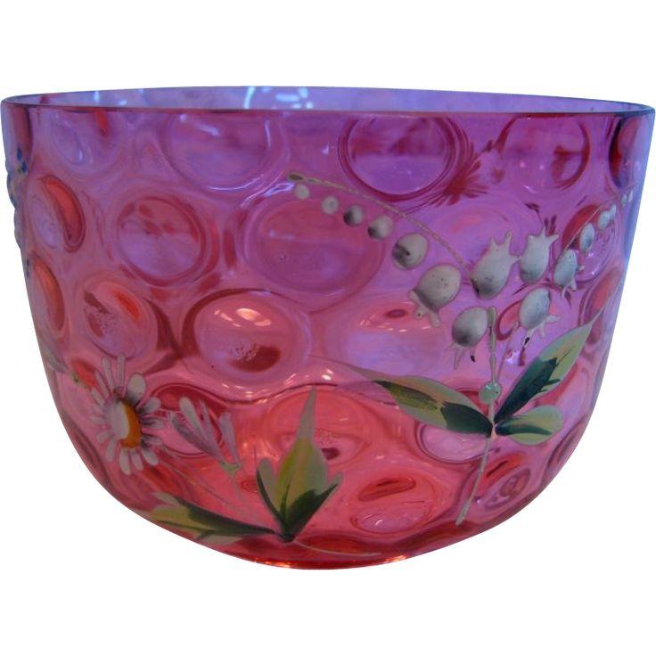 Bohemian Cranberry Art Glass Bowl Thumbprint Enameled Lilies Valley Flowers c 1890 - 1910
