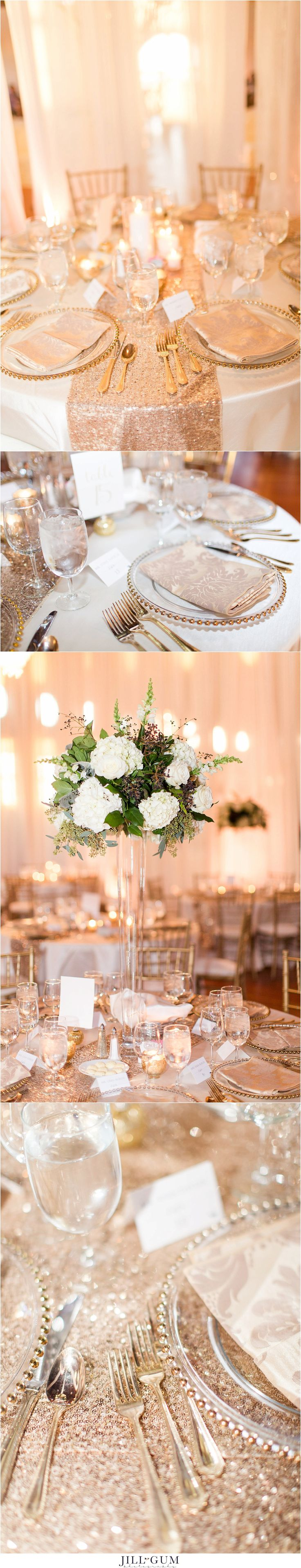 Jill Gum Photography | Wedding Reception Details | Reception Table Centerpieces | Glitter Table Cloth | Rose Gold | Navy | Gold | Ivory | February Wedding | Pink Anchor Weddings | IL Wedding Photographer | Artisan's Building Springfield, IL