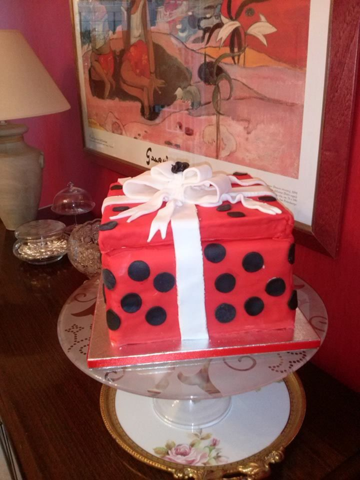 Red Box Cake with black dots and a White ribbon, for every occasion