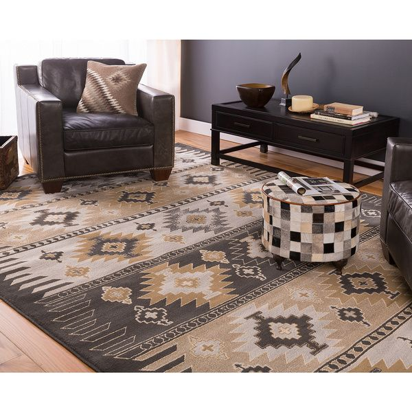 woven blackgrey aztec nomad area rug 5u00273 x 7
