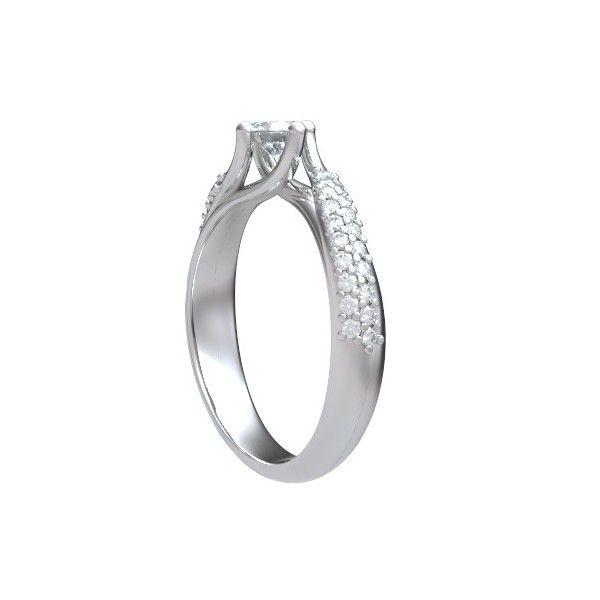 ANELLO DI FIDANZAMENTO SOLITARIO COMPOSTO CON DIAMANTE SUL GAMBO 18CT ORO BIANCO | Solitario Composto con 40 diamanti laterali Taglio Brillante. Il peso totale dei carati per questo anello va da 0.40ct a 0.80ct, con il diamante centrale che varia da 0.20ct a 0.60ct. Il 40 diamanti laterali sono montati a griffe e pesano 0.005ct ciascuno per un totale di 0.20ct. Tutti i diamanti sono disponibili da F ad H colore e da VS1 a HSI1 purezza.L`anello e` accompagnato dal certificato del diamante.