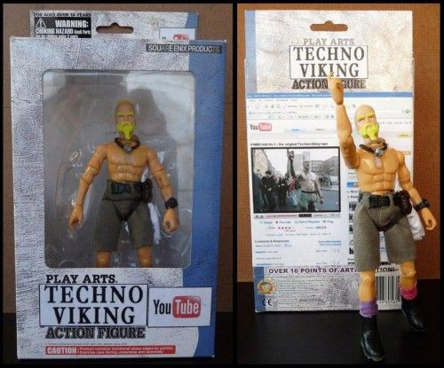 """Techno Viking, the character from a 12-year-old video, is a meme that just won't quit. Now he's an action figure! There's no verifiable information, but I gather that this is one of those custom-made action figures that can look like anyone if you pay the premium price. But I don't know who it belongs to."" For those who still don't know who is Techno Viking ---> http://www.youtube.com/watch?v=PozbCdtvixQ"