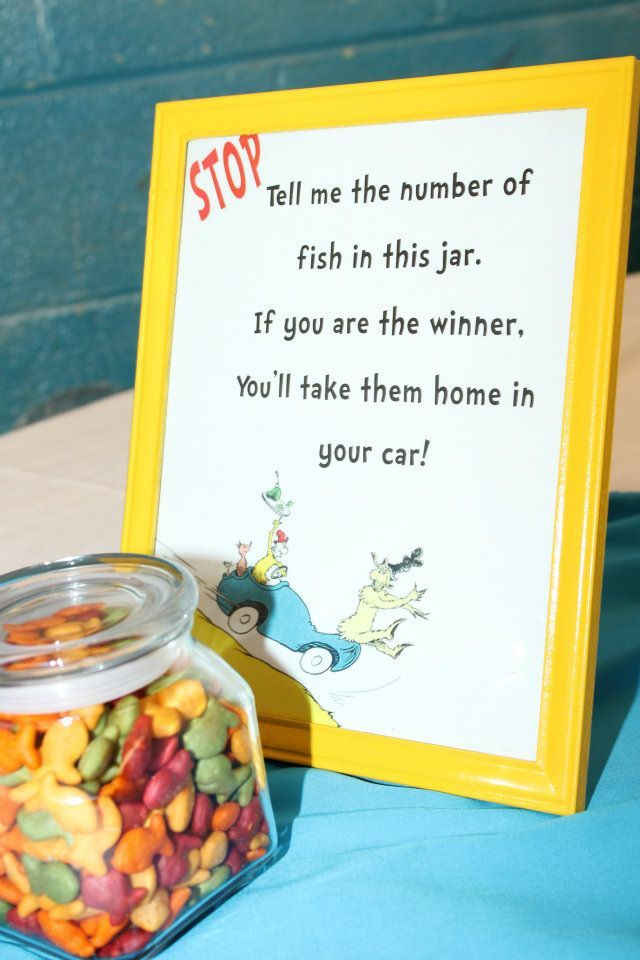1 Fish, 2 Fish, Red Fish, Blue Fish guessing game.  The colored Goldfish crackers are perfect for this one.