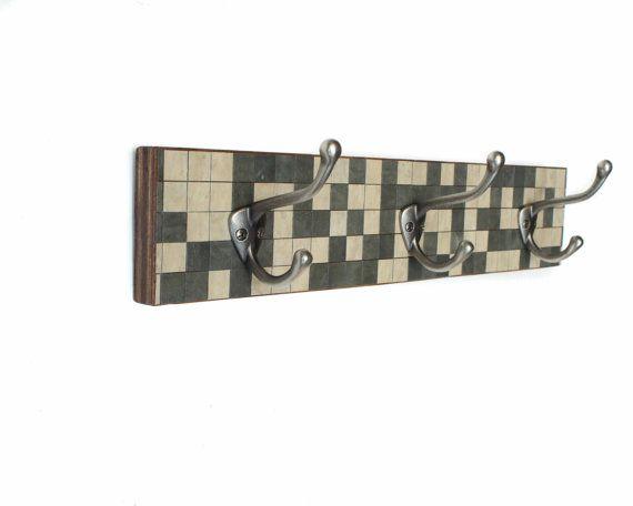 Wall Coat Rack Handmade Paper Grey Stone Mosaic Tile by calyrew, $90.00