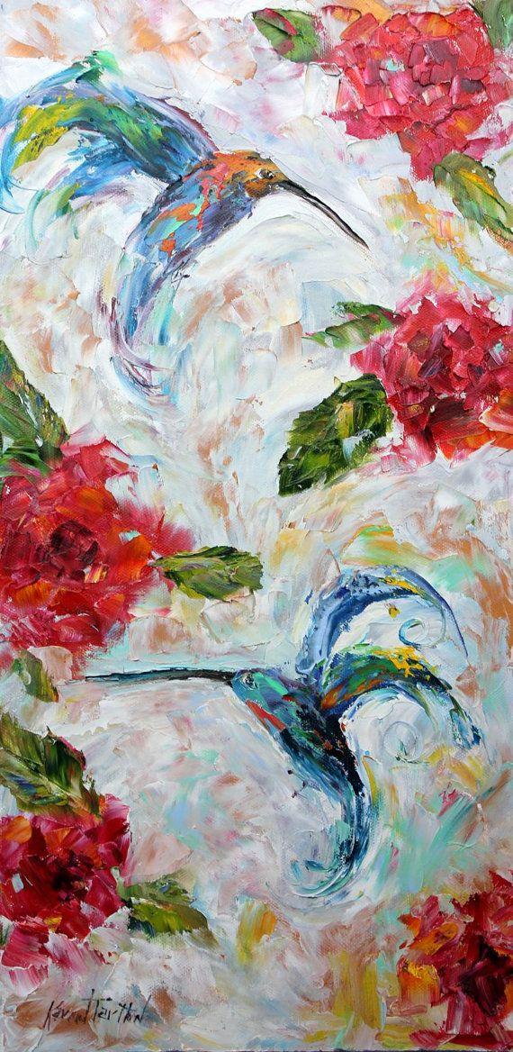 Original oil painting Spring Hummingbird Dance by Karensfineart