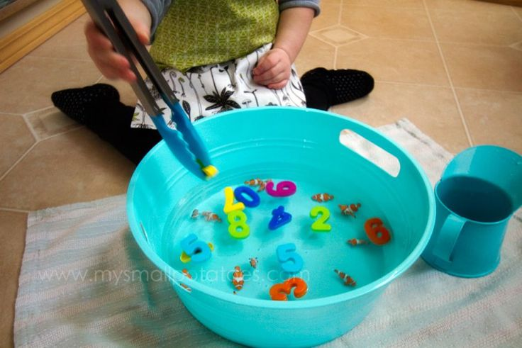 Fishing with tongs, great fine motor activity - do it in the bath.. Use plastic…