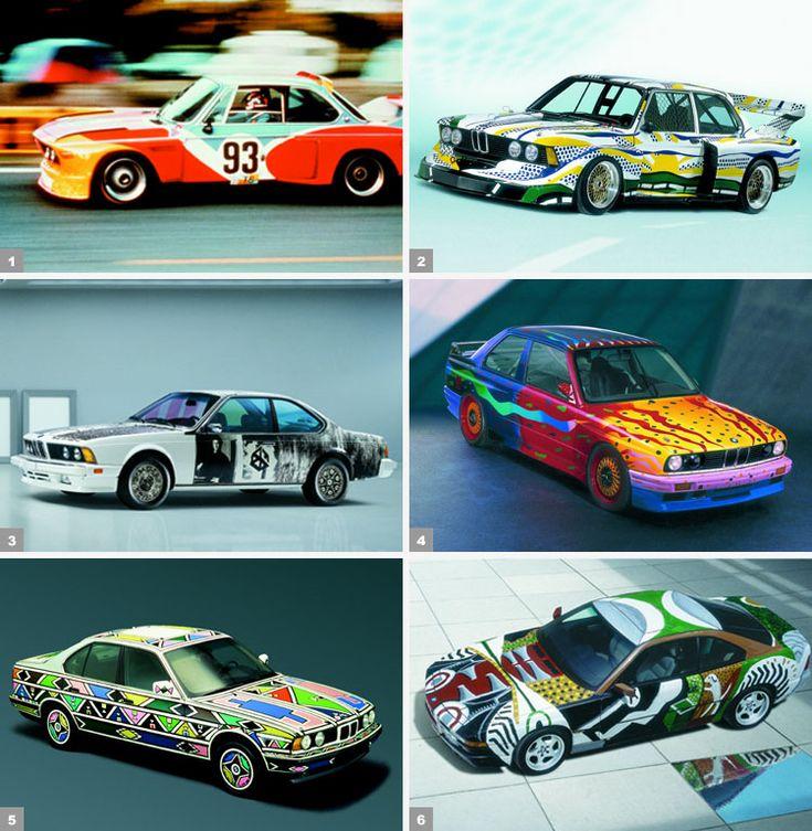 1. Alexander Calder, BMW 3.0 CSL (1975) / 2. Roy Lichtenstein, BMW 320i (1977) / 3. Robert Rauschenberg, BMW 635 CSi (1988) / 4. Ken Done, BMW M3 (1989) / 5. Esther Mahlangu, BMW 525i (1991) / 6. David Hockney, BMW 850 CSi (1995).