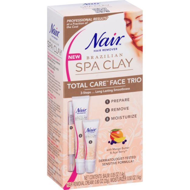 I'm learning all about Nair Brazilian Spa Clay Total Care Face Trio Hair Remover Kit at @Influenster!