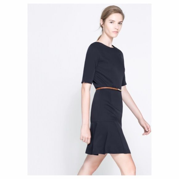 ✨Zara✨ Navy Fit & Flare Dress Zara Basic Fit & Flare Dress. Good condition. Navy. 100% Polyester. There were threads for a belt, but I cut them off. See last pic! Zara Dresses
