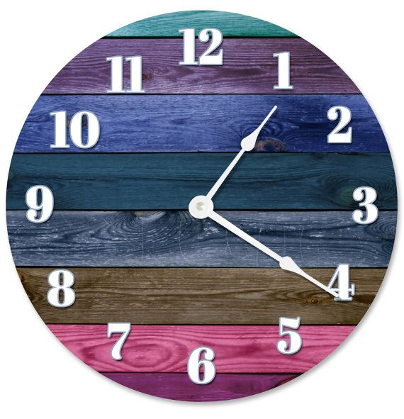 COLORED WOOD BOARDS Clock Rustic Clock Large 10.5 inch Clock Novelty Clocks Beach House Decor blue, teal, brown, pink - 2171