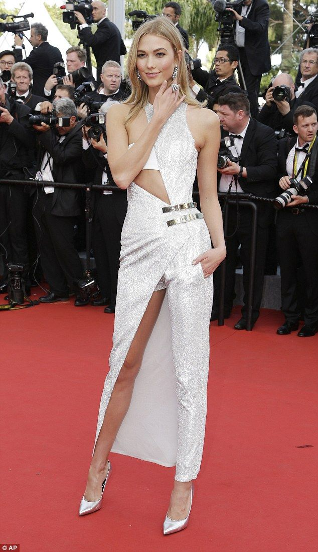 Magnificent in metallic: Karlie Kloss opted for a more directional look as she attended th...