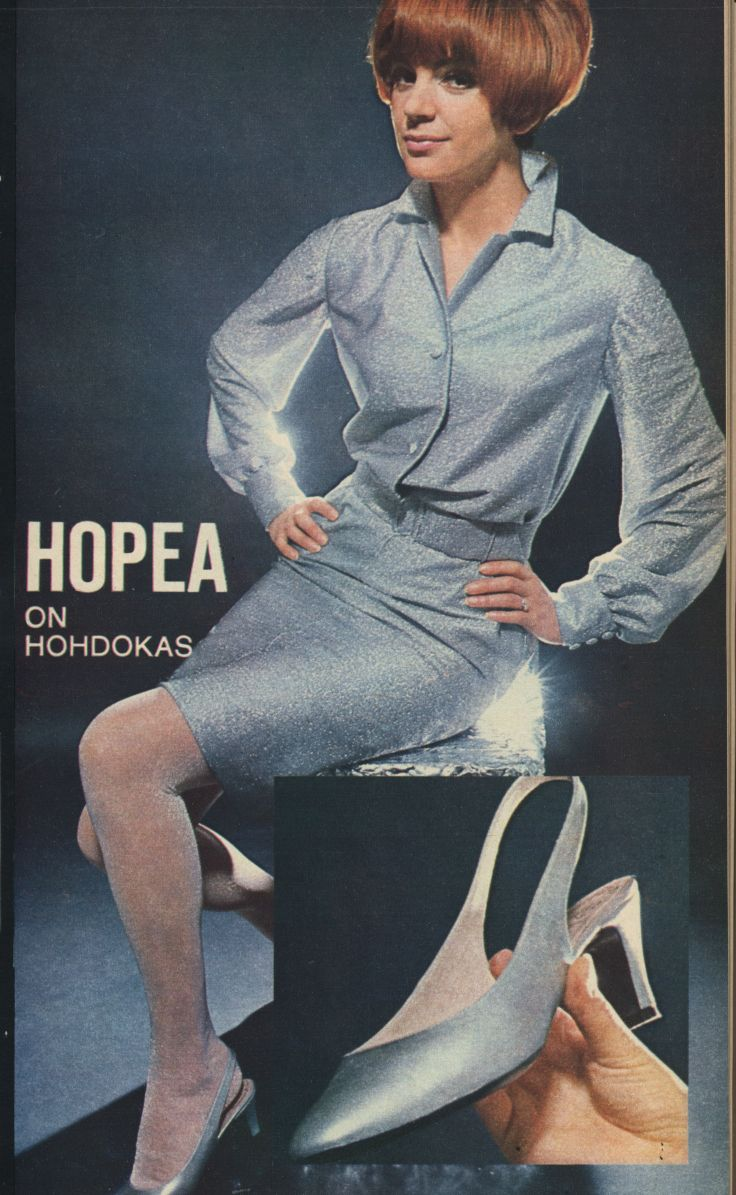 "In the 1960s and 1970s, Finnish ladies' magazines had a service where you could order pre-cut fabric for DIY fashions. ""Fall 66 is the season of silver!"" Silver shoes by Finnish shoe designer Pentti Palmroth. Anna 43 1966. Photo: Ato Hallakorpi"