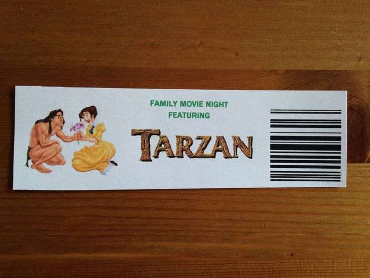 Our Tarzan Tickets - Tarzan Movie Night - Disney Movie Night - Family Movie Night