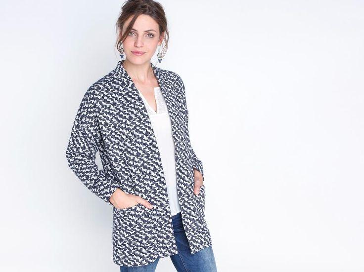 Manteau femme jacquard graphique