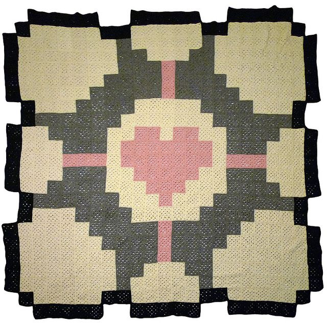 Companion Cube Blanket! I think I'll crochet 4'x4' squares and stitch them all together. :) That's bigger than 7.5 square feet! 39 pink, 82 black, 128 dark grey, and 212 white/ light grey! :)