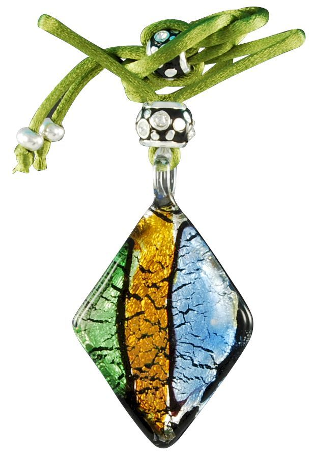 Pretty Murano glass pendant with green rat tail ribbon. Colorful Venetian style, bright, imaginative, customizable. Hand made in Italy with 24k gold leaf. Custom made jewelry in the classical Venetian patterns.