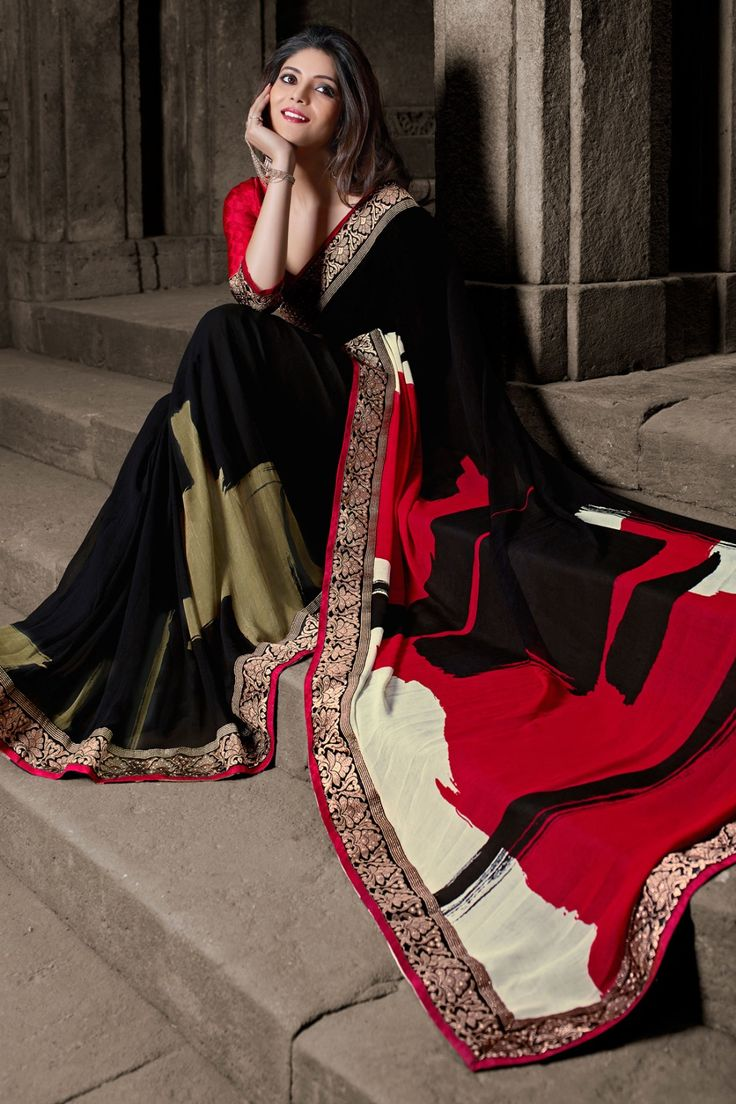 Black and Maroon Faux Georgette Saree Checkout our #latest #sarees @ http://zohraa.com/sarees.html #zohraa #onlineshop #womensfashion #womenswear #look #diva #party #shopping #collection #online #beautiful #love #beauty #glam #bollywood #shoppingonline  #styles #stylish #model #fashionista #pretty #women #luxury #celebrity  #lifestyle #best #fashion