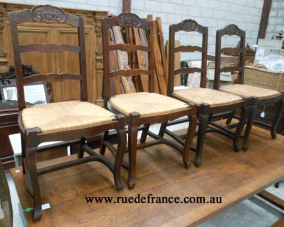 ANTIQUE FRENCH SET OF 4 DINING CHAIRS - FRENCH  PROVINCIAL STYLE