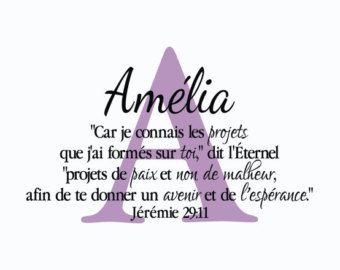Jérémie 29:11 versets de la bible sticker mural écriture monogramme French Translation wall art
