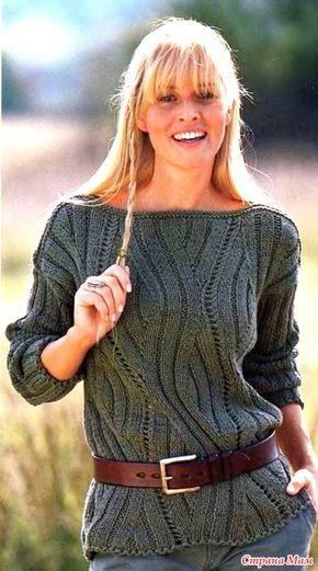 Пуловер с зигзаобразным рельефным узором - Вязание - Страна Мам