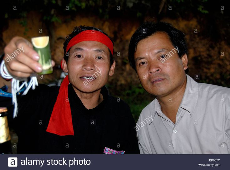 Cheers, men of the Phunoi ethnicity clinking glasses with Lao Lao, Laotian rice wine in bamboo vessels, Phongsali, Laos, Southe Stock Photo