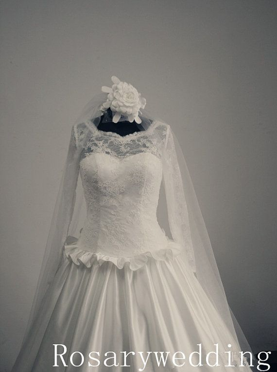 Long sleeves lace satin vintage wedding by Rosaryweddingdress, $339.00