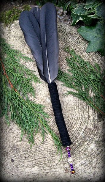 Crow Feather Smudge Fan: Witchcraft, Shaman, Wicca, Pagan on Etsy, $24.95