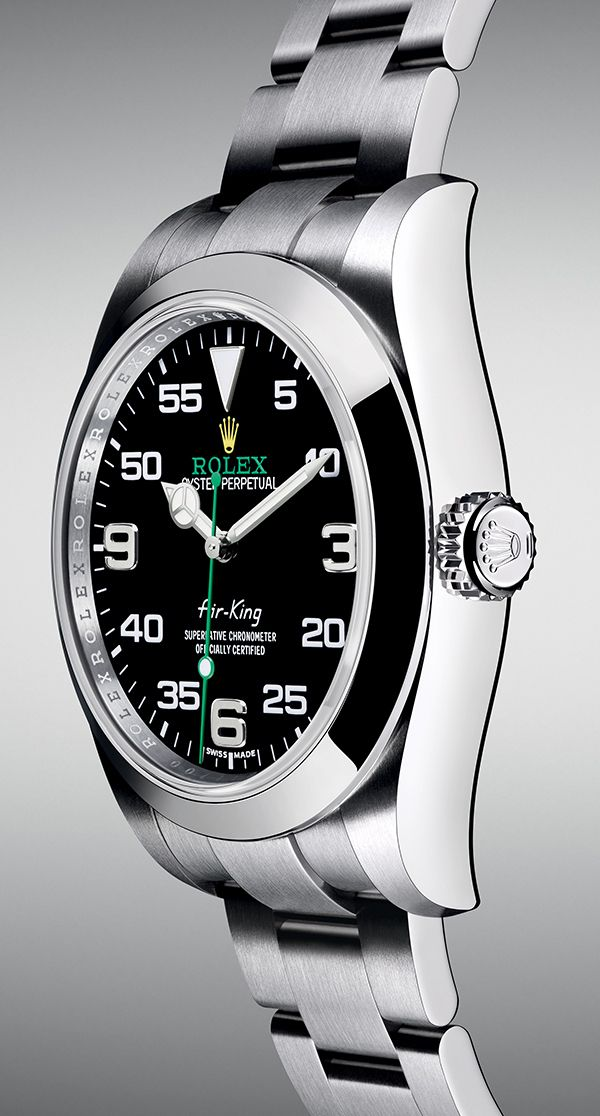 The new Rolex Air-King with a 40 mm case in 904L steel and a black dial…