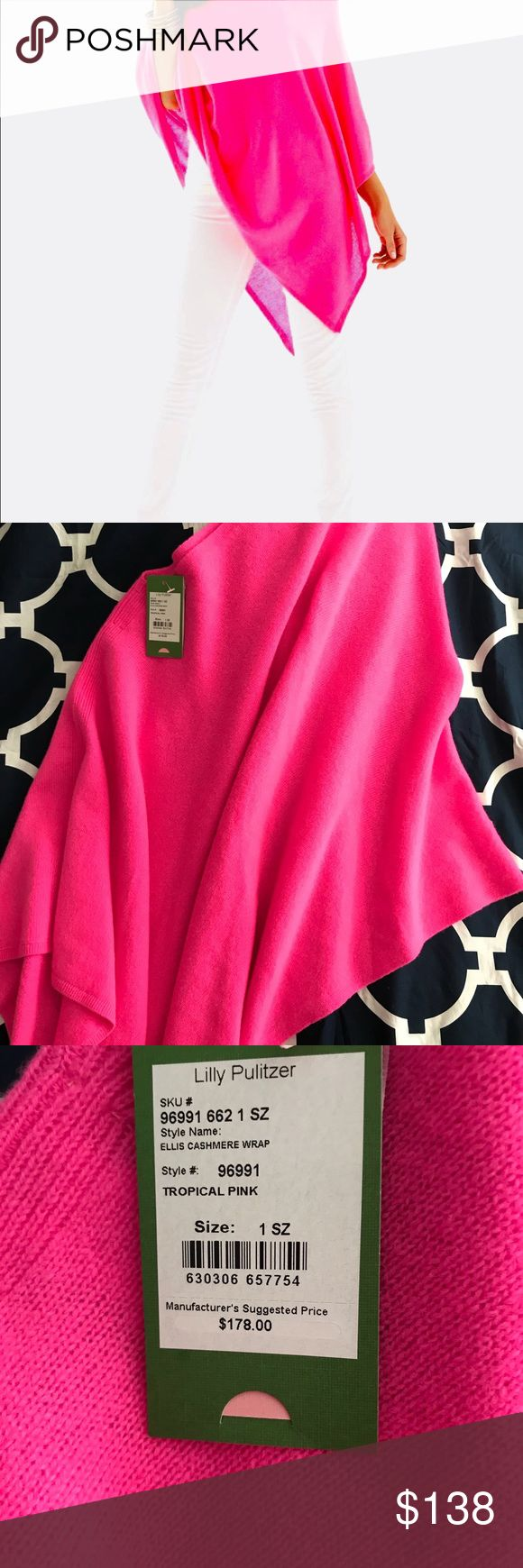 🍍Nwt Lilly Pulitzer Cashmere Wrap fit most 4 6 12 Sold Out! Perfect all year round! 100% Cashmere. Bright hot pink Ellis wrap.  Tag goes off shoulder to give the peek a boo effect.  Beautiful & Flawless.  Perfect for any occasion. Size 1- 1 size fits most. Lilly Pulitzer Sweaters Shrugs & Ponchos