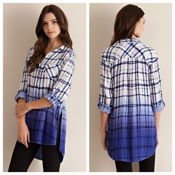 Plaid Ombré Button Down, Roll up Sleeves. Hi-Lo Pretty Plaid print rayon with ombre button down roll up sleeve shirt featuring side slit and two front pockets. High Low. Non-sheer. Woven. Light-weight. The fabric is 100% rayon.  I can just see this with white skinny jeans!  Small and Medium are available.  Just ask and I'll make a listing. ☄as always save 15% with a bundle☄ Tops Button Down Shirts