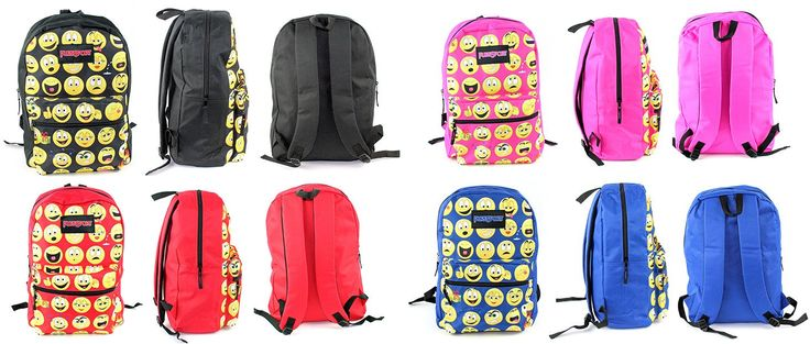"Wholesale Backpacks 17"" Classic PureSport Emoji Print Backpacks - Assorted Colors - 12 Units"