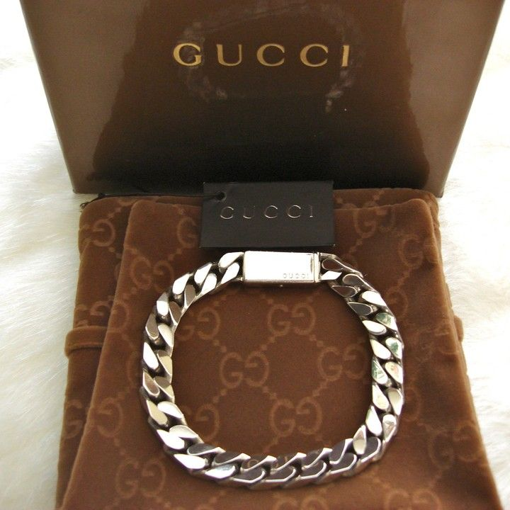 Quot Authentic Gucci Men Sterling Silver Trademark Engraved