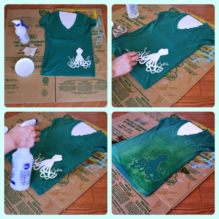 DIY Bleached Design Shirt - going to try this with the shirts my kids (or I) stain.  Must be a good way to hide the stain and save the t-shirt.