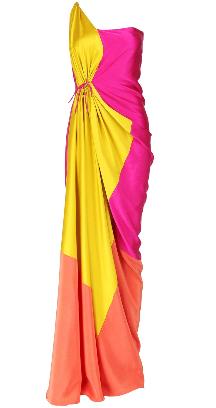 James Ferreira sari-inspired colorblock gown