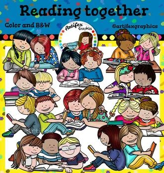 Reading together clip art set features 20 items: 10 clip arts in color. 10 clip arts in black & white.All images are 300dpi, Png files.This clipart license allows for personal, educational, and commercial small business use. If using commercially, or in a freebie, credit to my store by a link is required and appreciated.